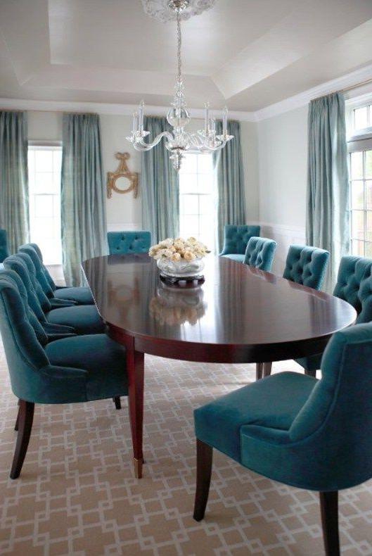Textile Spotlight Velvet Teal Dining Chairs Dining