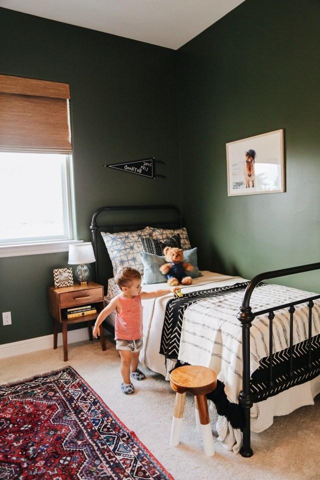 Toddler Room Iron Bed Dark Green Walls Big Boy Room