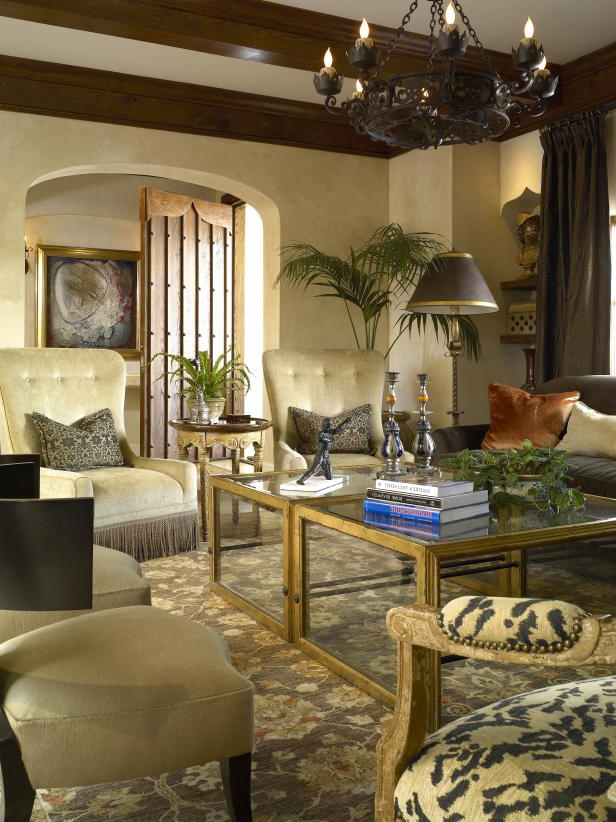 Traditional Living Room With Tuscan Hues Hgtv