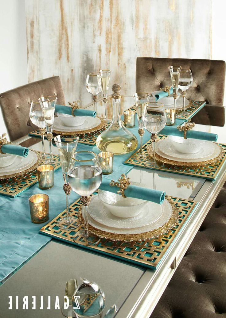 Turquoise Gold Dining Tablescape Dining Table
