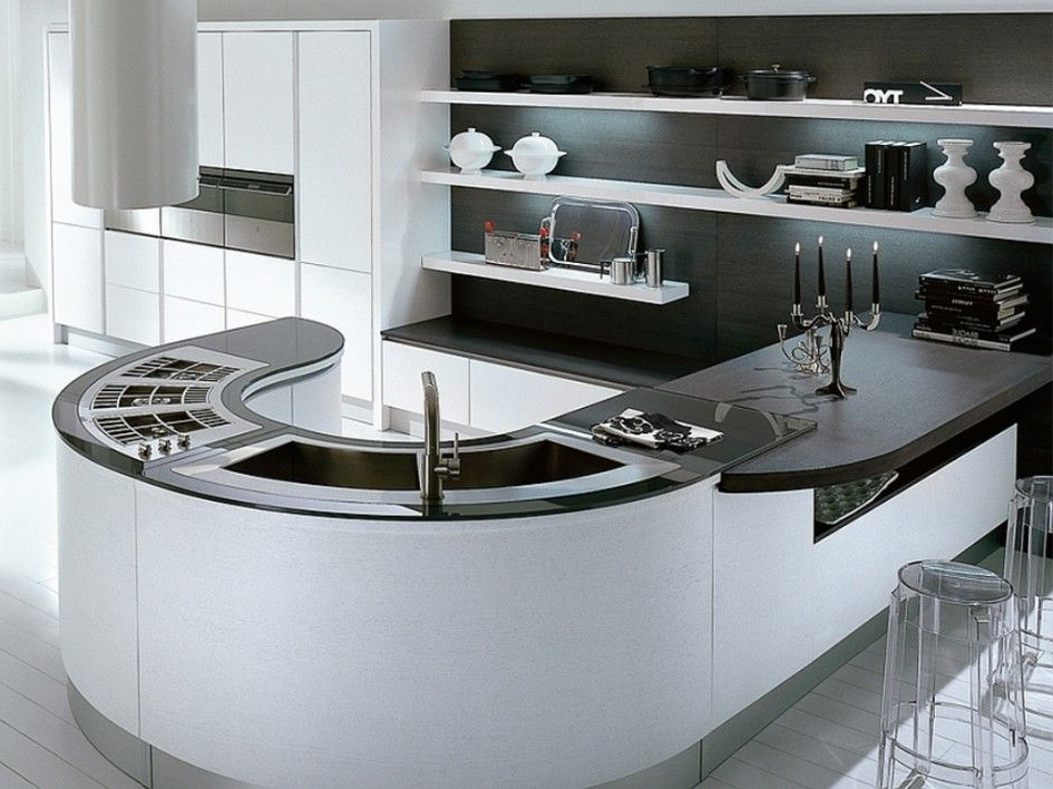 Unique Curved Kitchen Island Benches With Curved Double