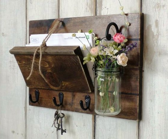 Unique Rustic Wood Mail And Key Holder Hanging Mason Jar