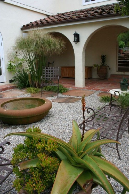 Use Of Large Terracotta Pots For Simple Water Features