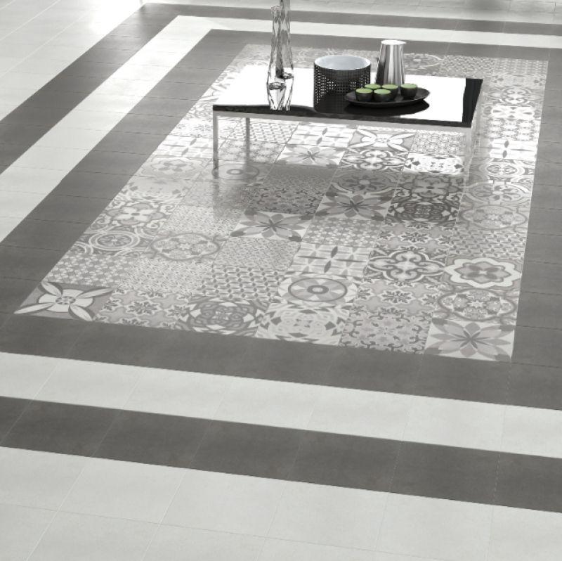 Vintage Patchwork White Base Tiles 24x24cm Patchwork