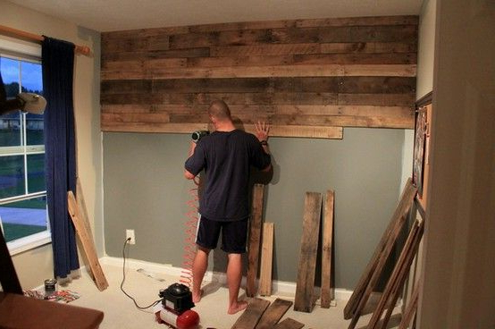 We Are During This Thru Out Our New House And Cant Wait Diy Pallet Wall Wood Pallet Wall