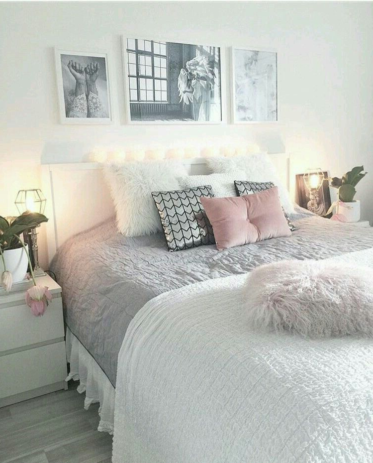 White Gray And Pink Bedroom Set Up Cozy Home Decorating