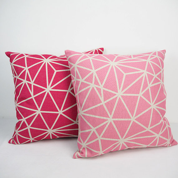 modern light dark pink pillow cover 24x24 cushion cover