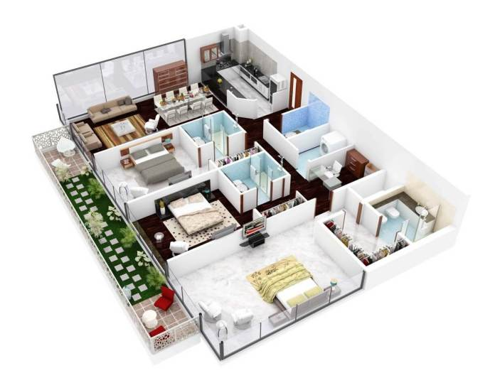 20 Plans For 3 Room Apartments With Modern 3d Designs