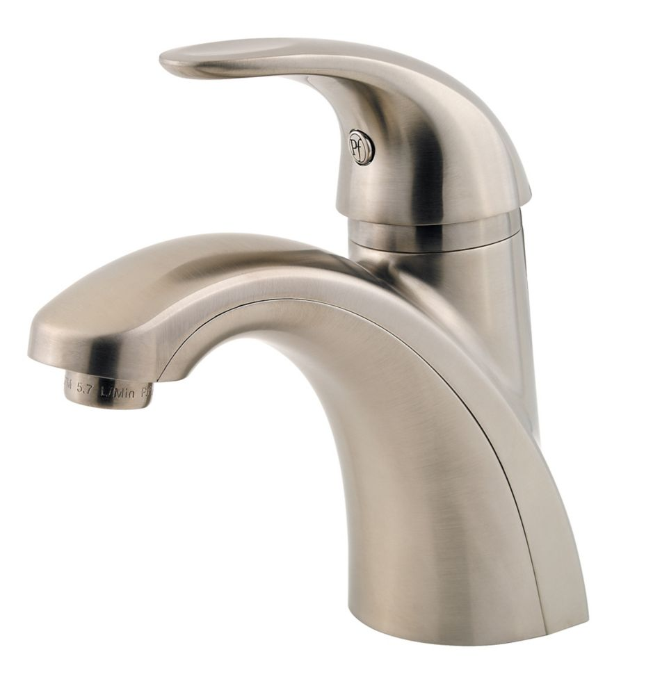 parisa single hole 1 handle mid arc bathroom faucet in brushed nickel with lever handle