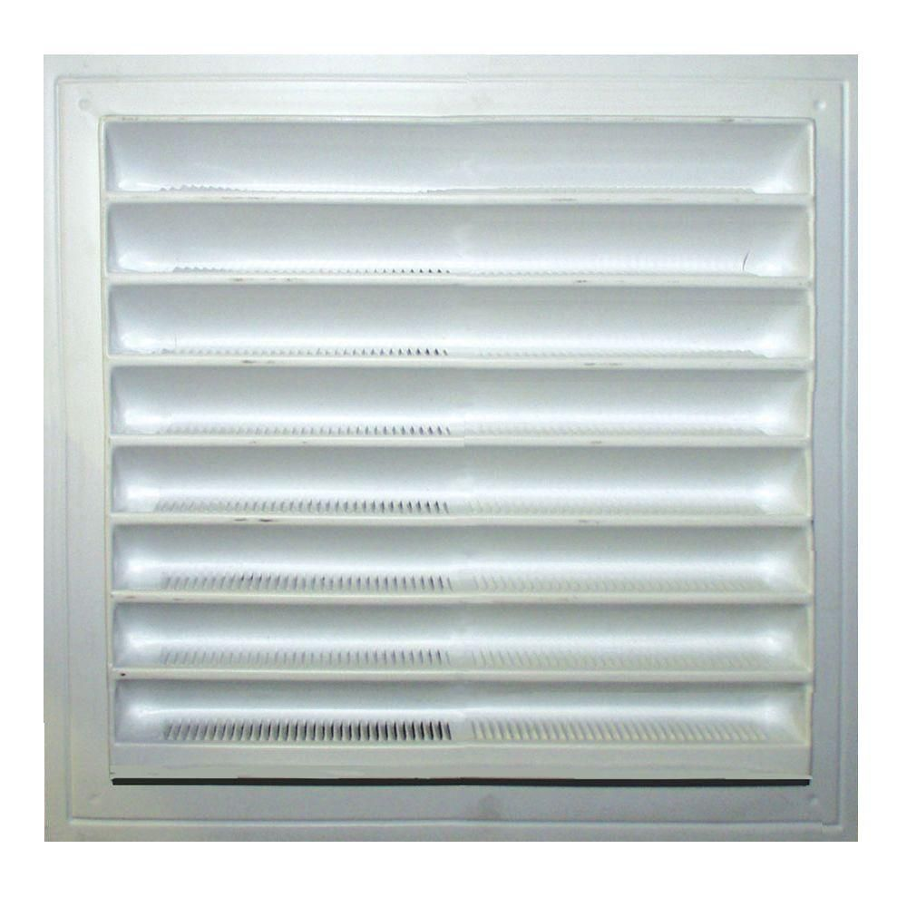 8 inch x 8 inch plastic wall louver static vent in white