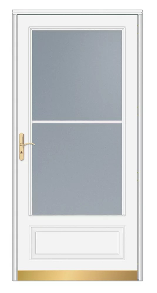 32 inch w 400 series venting white screen door with brass hardware