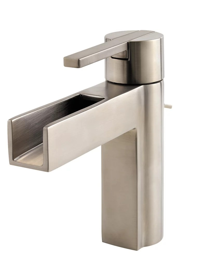 vega single hole 1 lever high arc waterfall flow bathroom faucet in brushed nickel