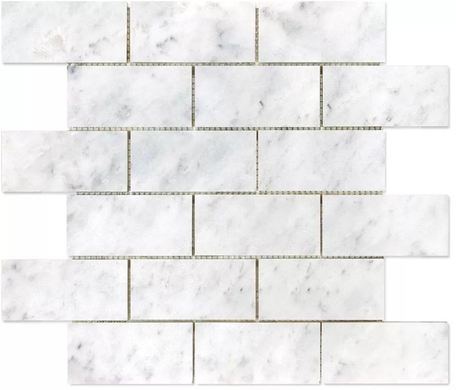 2 inch x 4 inch bianco polished brick mosaic tile