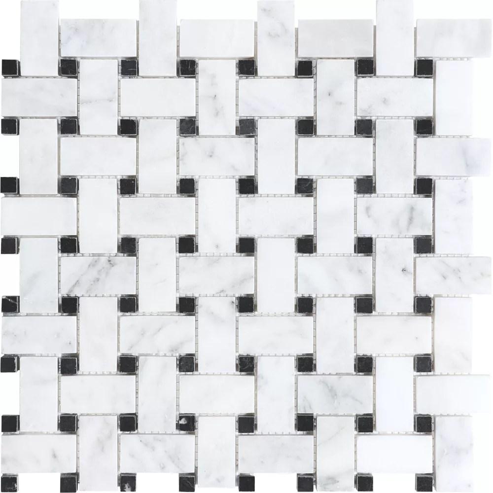 bianco polished basket weave mosaic tile