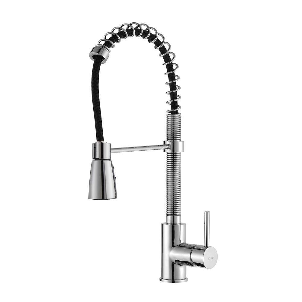commercial style single handle pull down kitchen faucet with 3 function sprayer