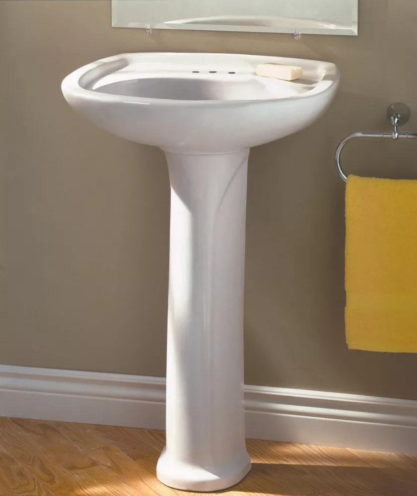 marina oval 4 inch bathroom pedestal sink basin in white