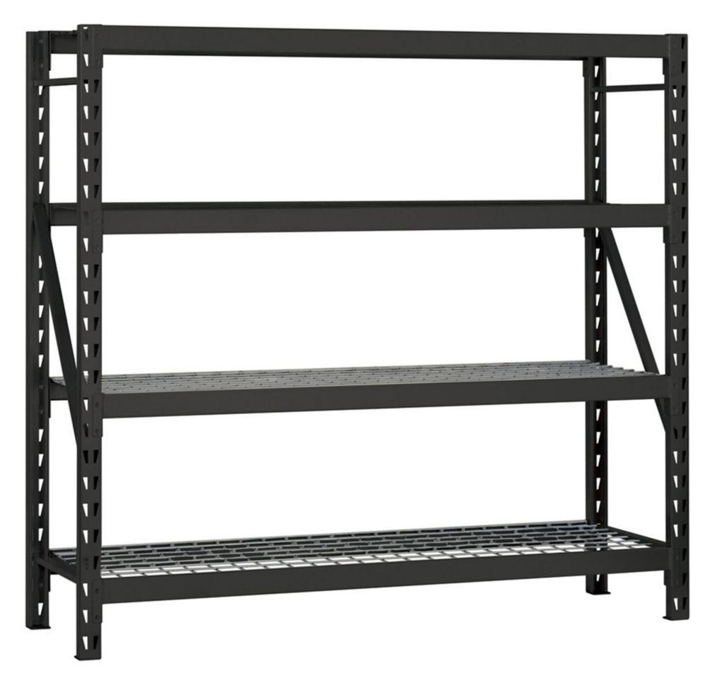 rayonnage de garage en acier soude a 4 etageres de 77 pouces de large x 78 pouces de haut x 24 pouces de profondeur avec plateau en fil de fer noir