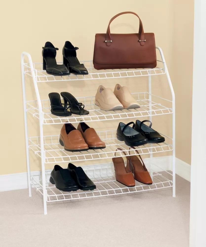 27 9 inch h x 25 75 inch w x 11 6 inch d shoe shelf with 4 tiers
