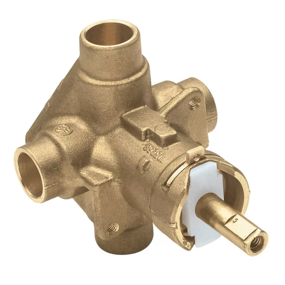 brass rough in posi temp pressure balancing cycling tub and shower valve 1 2 inch cc connection