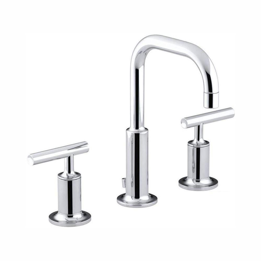 purist 8 inch widespread 2 handle water saving bathroom faucet in polished crome