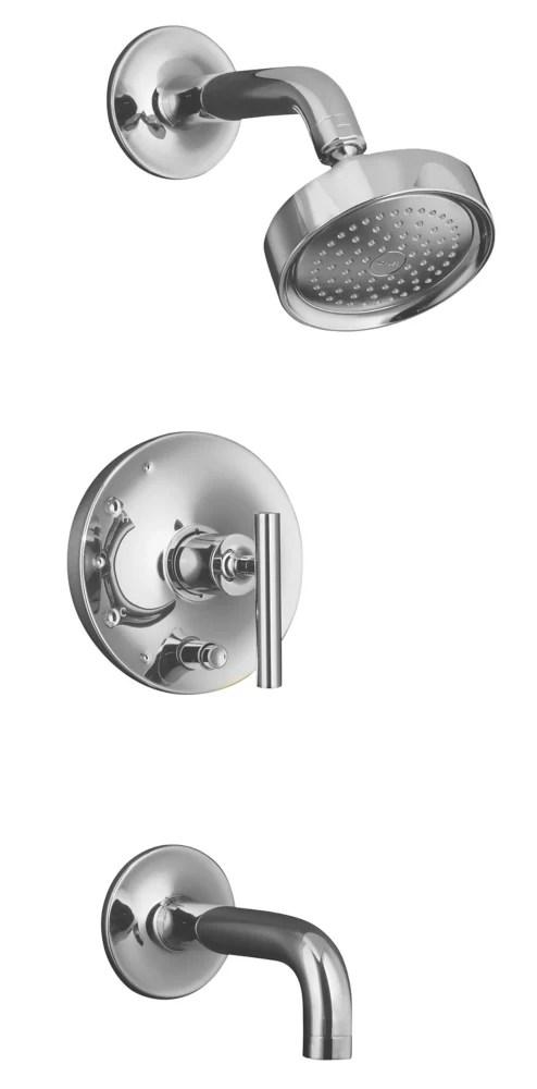 purist r rite temp r pressure balancing bath and shower trim set with push button diverter