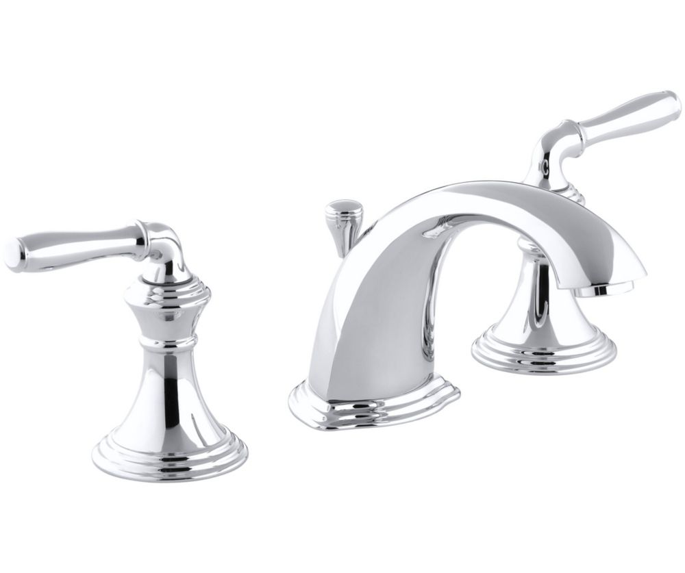 devonshire 8 inch widespread 2 handle low arc bathroom faucet in polished chrome