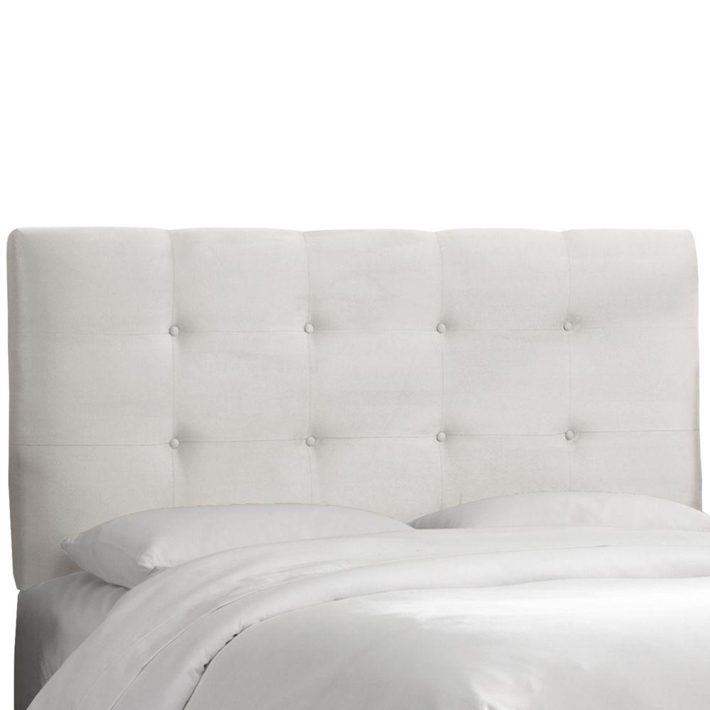 dossier capitonne pour lit double polyester microdenier de ton blanc