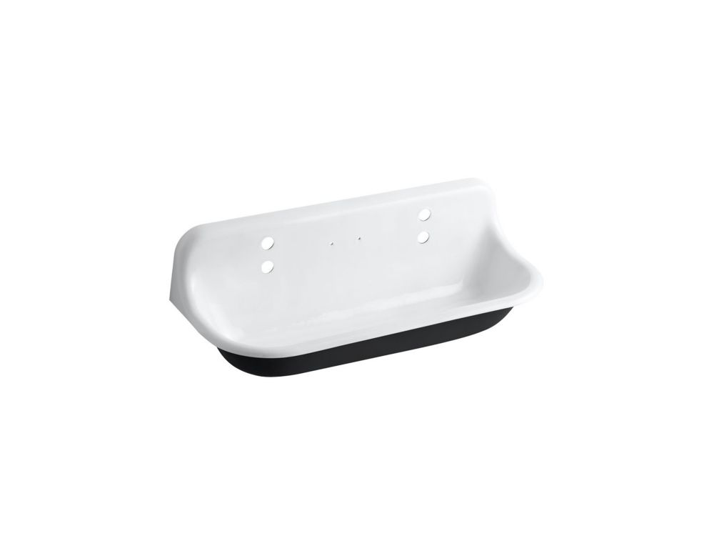 brockway 36 inch cast iron wall mount wash sink with 2 faucet holes in white