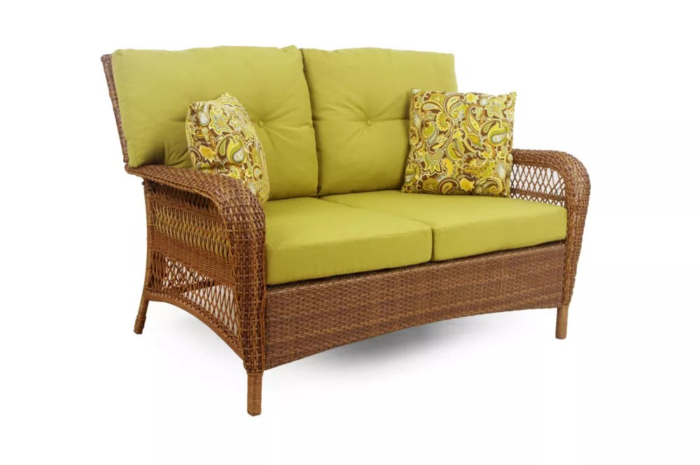 charlottetown patio loveseat in brown with green cushions