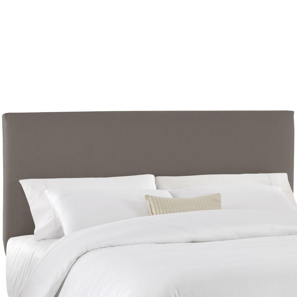 housse pour tete de lit double en tissu gris