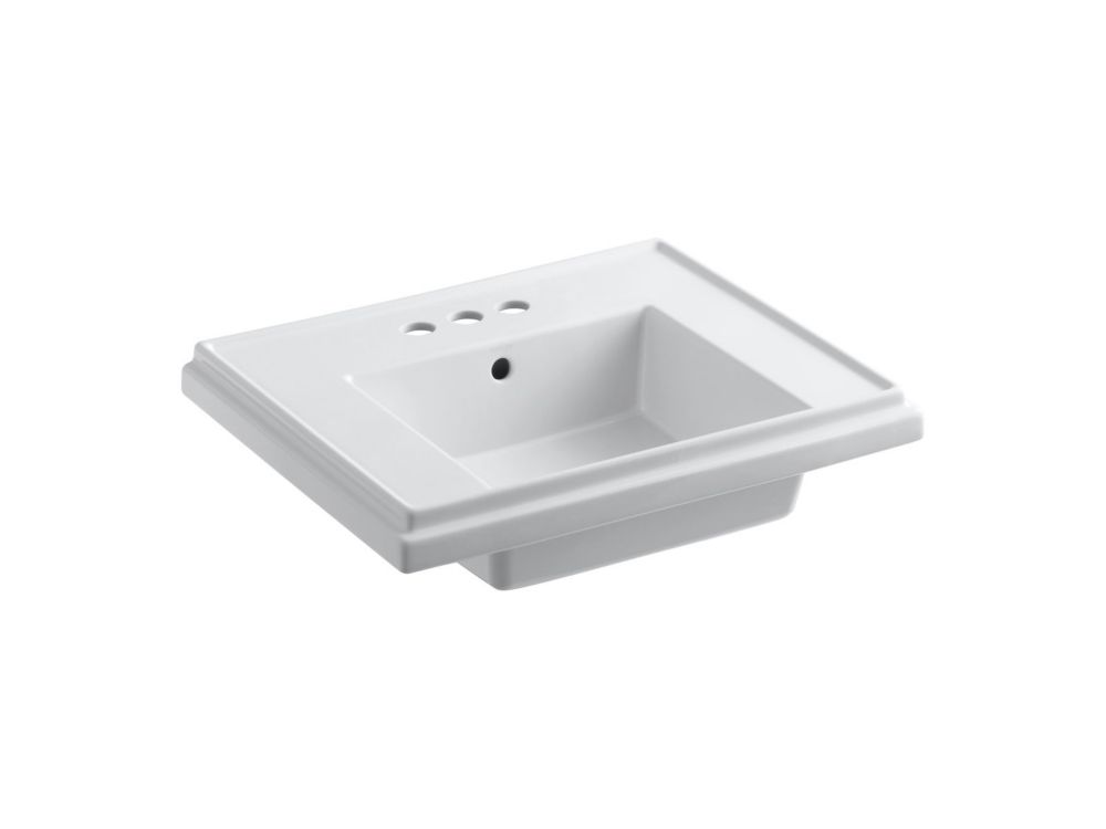 tresham bathroom sink basin with 4 inch centreset faucet installation in white