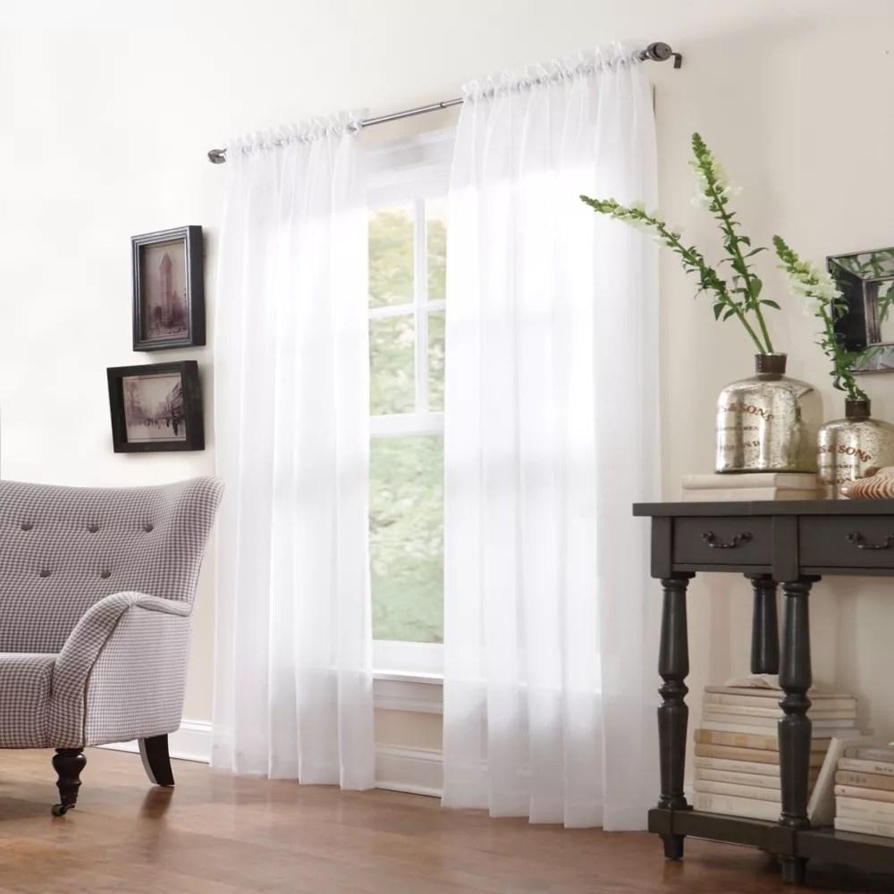 san marino 59 inch w x 84 inch l sheer rod pocket curtain panel pair in white