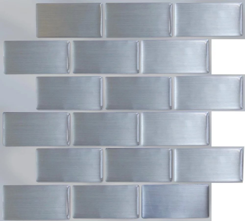 steel subway peel and stick it tile 11 25x10 bulk pack 8 tiles