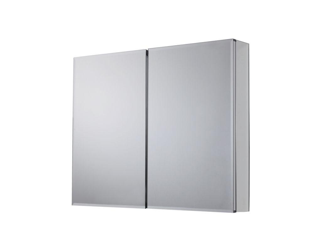 armoire a pharmacie pour installation en surface ou encastree de fini argent 36 po x 30 1 2 po