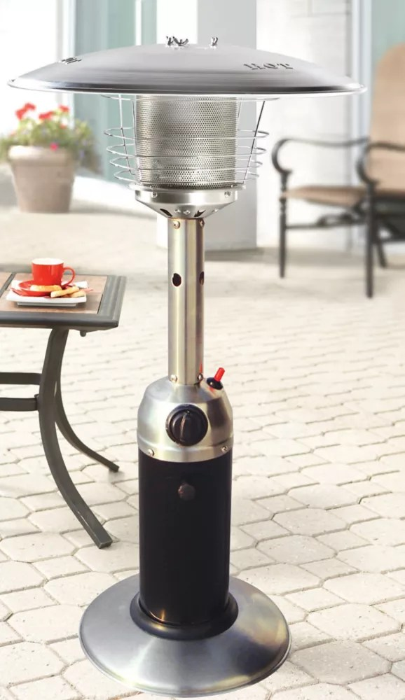 table top propane patio heater in black and stainless