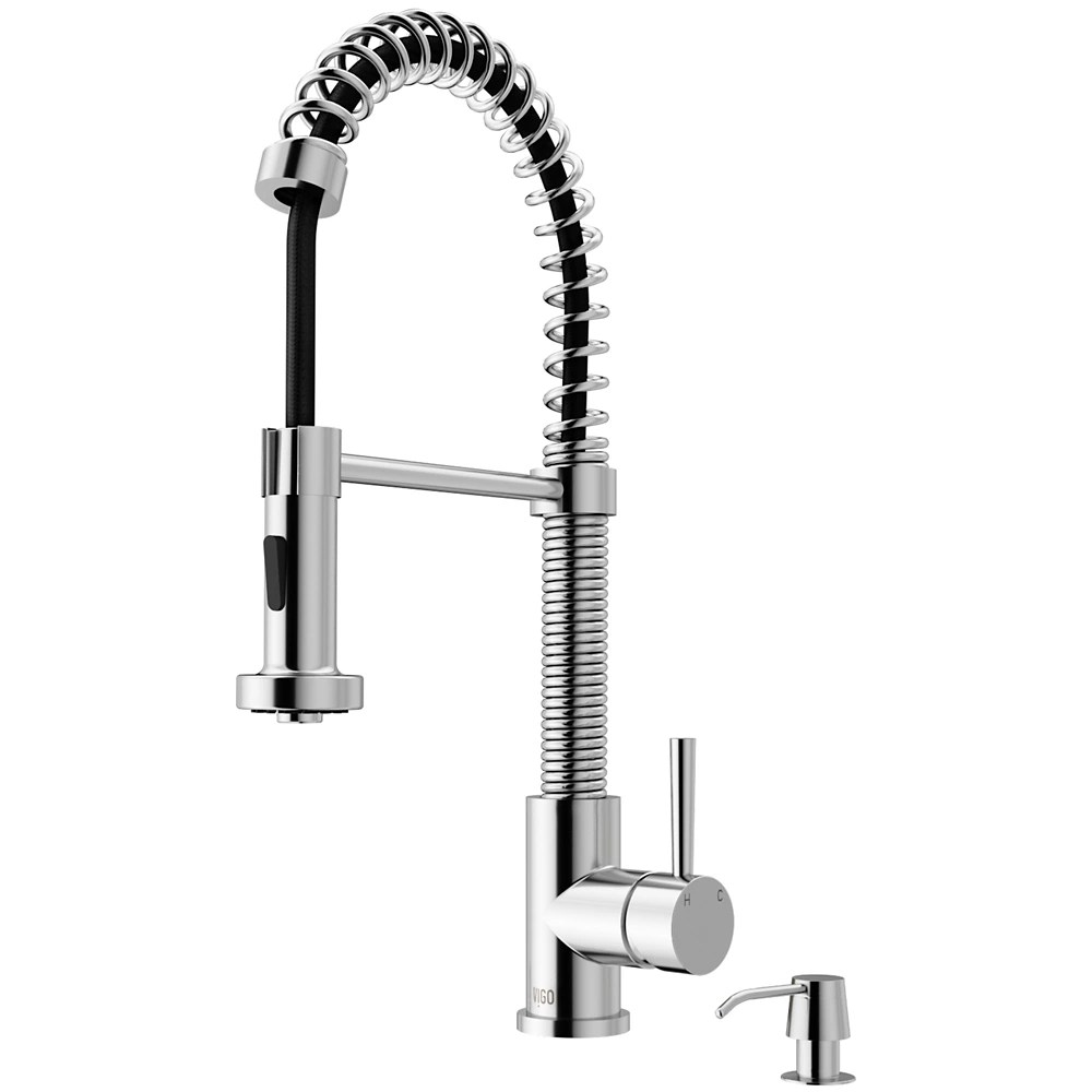 edison single handle pull down sprayer kitchen faucet with soap dispenser in chrome
