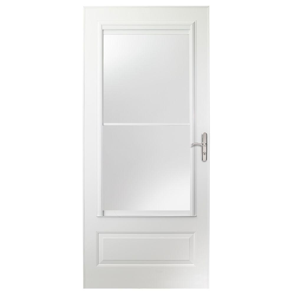 400 series 36 inch screen door in white with nickel hardware