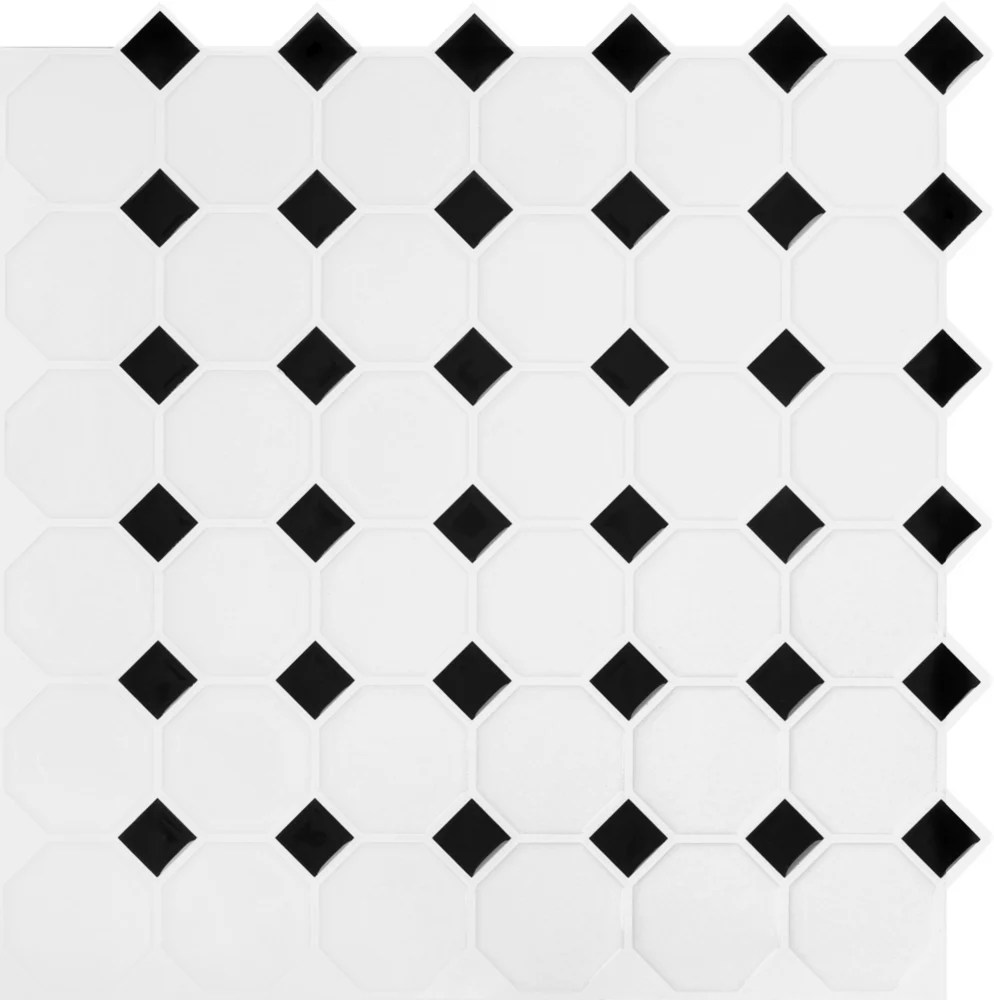 black and white octo peel and stick it tile 10 5 inch x 10 5 inch 8 pack