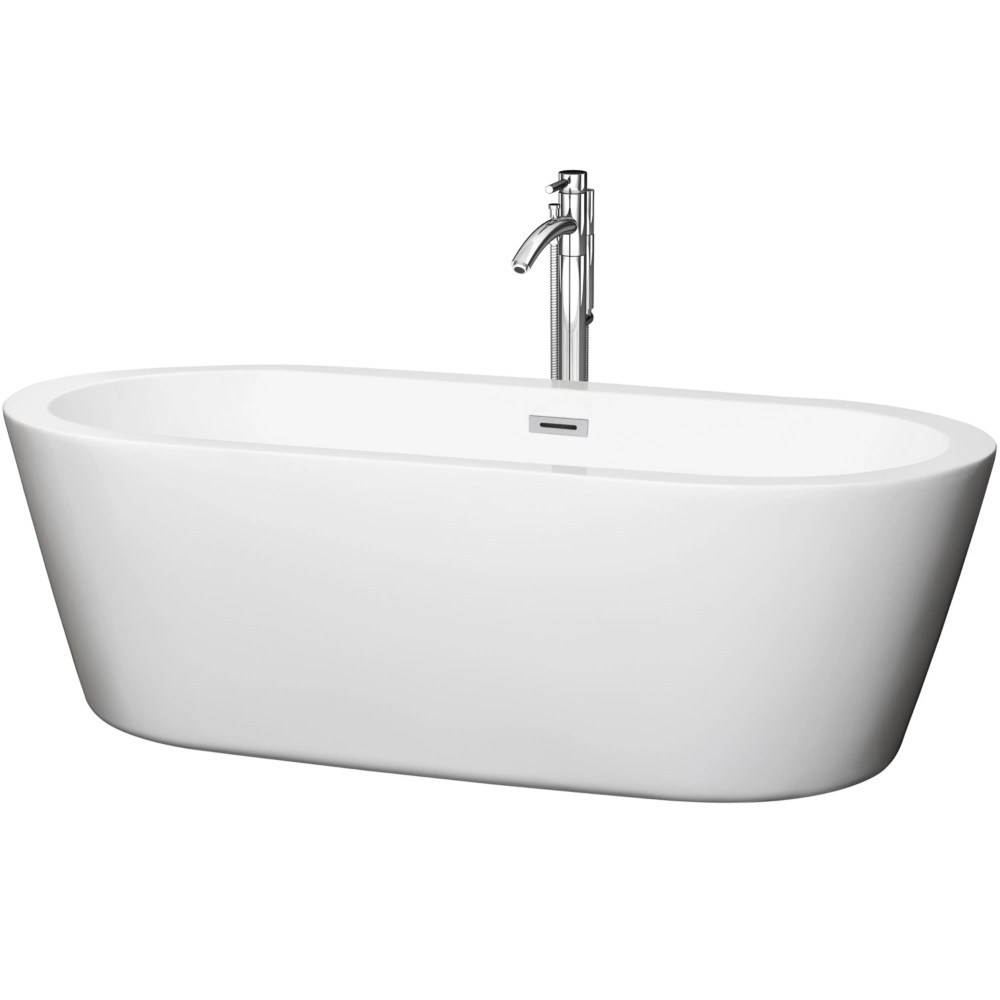 mermaid 5 feet 11 inch soaker bathtub with centre drain and floor mounted faucet in chrome