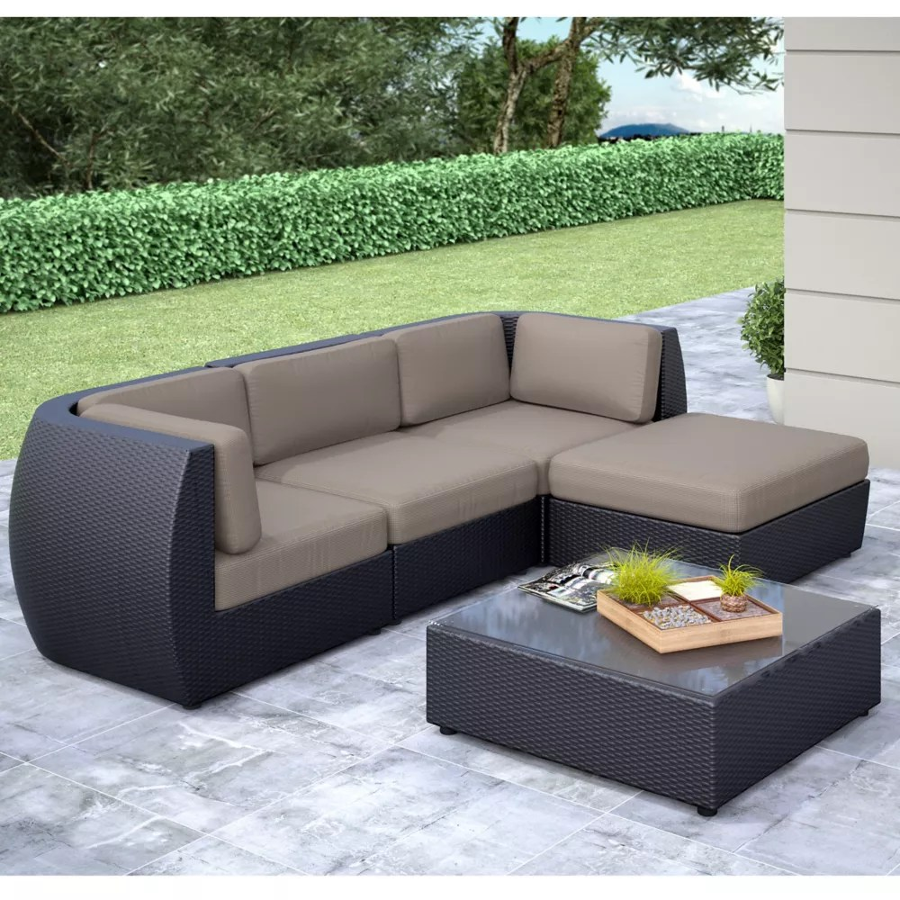 seattle curved 5 piece patio sofa with chaise lounge set