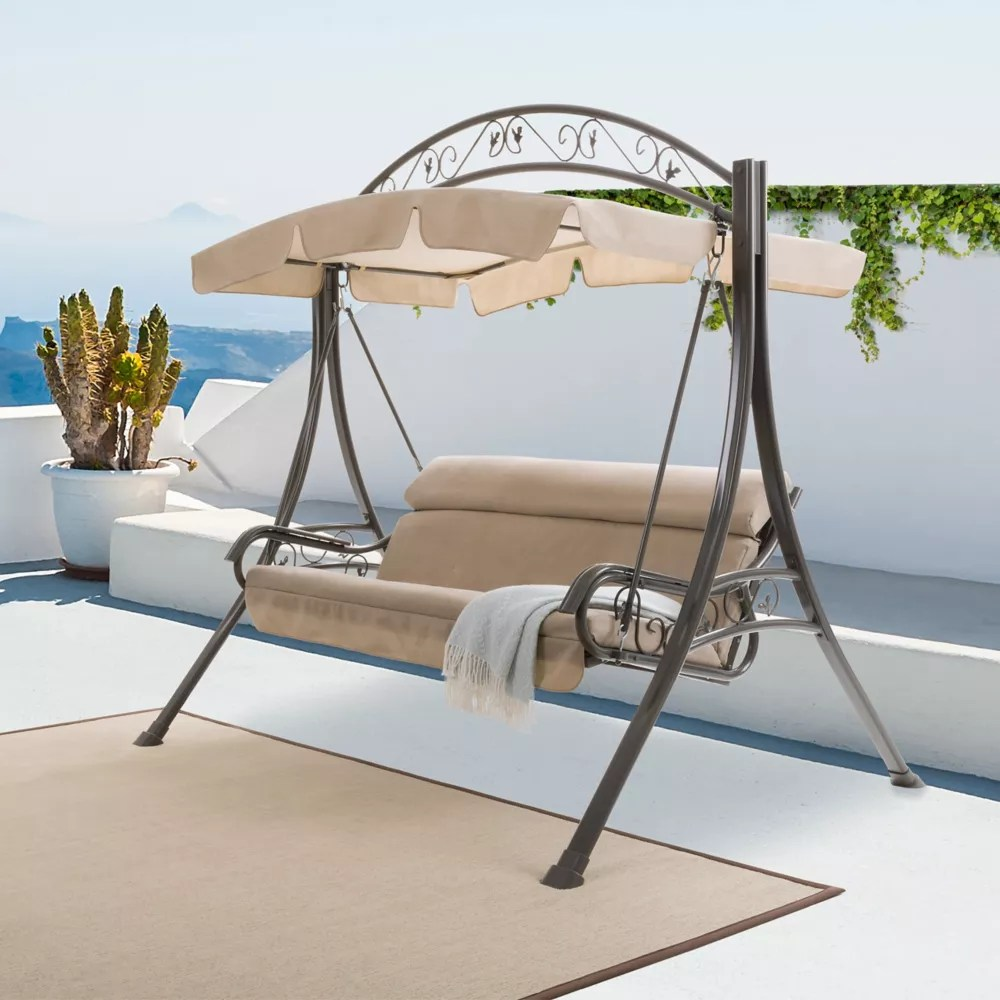 nantucket patio swing with arched canopy in beige