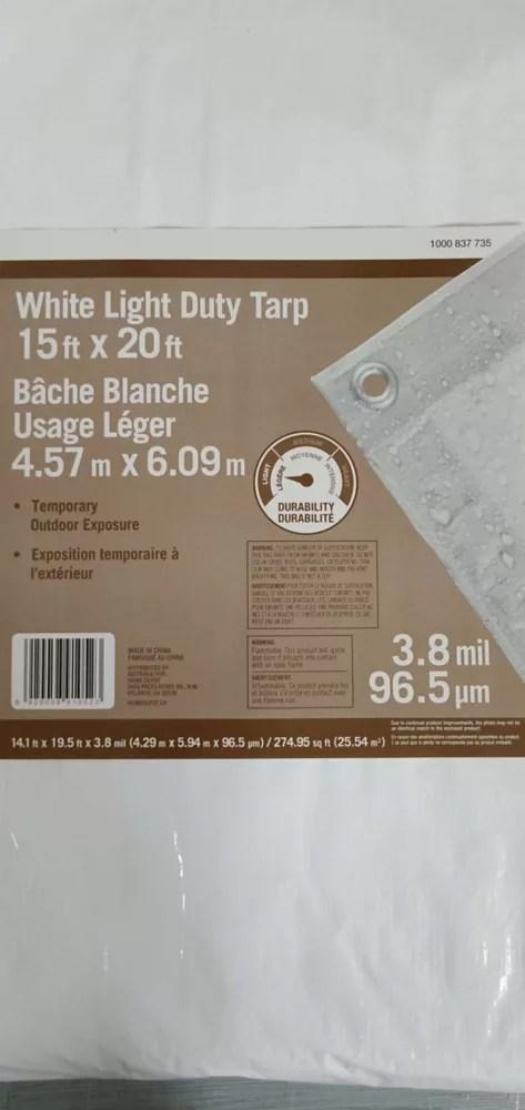 15 ft x 20 ft all purpose tarp in white