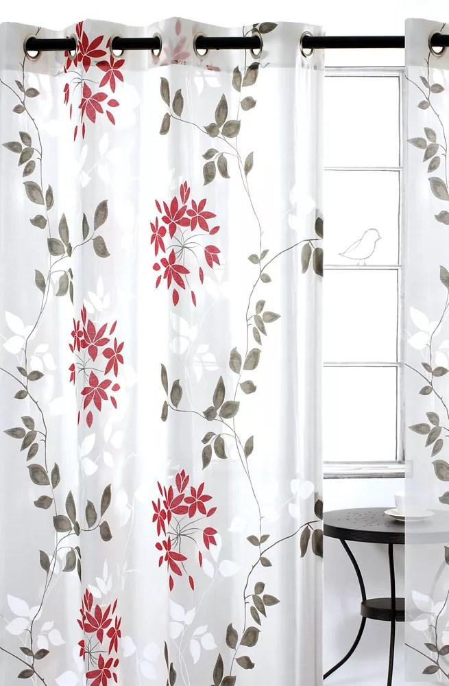 dreamscape une paire de rideaux voilage floraux a illets 52x95 po blanc gris rouge