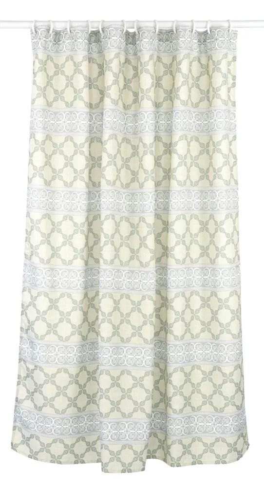 vogue geometric fabric shower curtain liner ring set 14 piece linen grey green