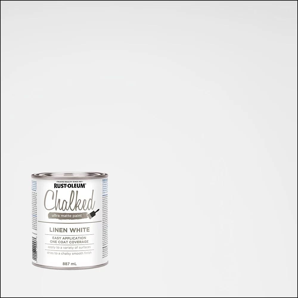 Rust Oleum Peinture Ultra Mate A La Craie En Blanc Lin 887 Ml Home Depot Canada