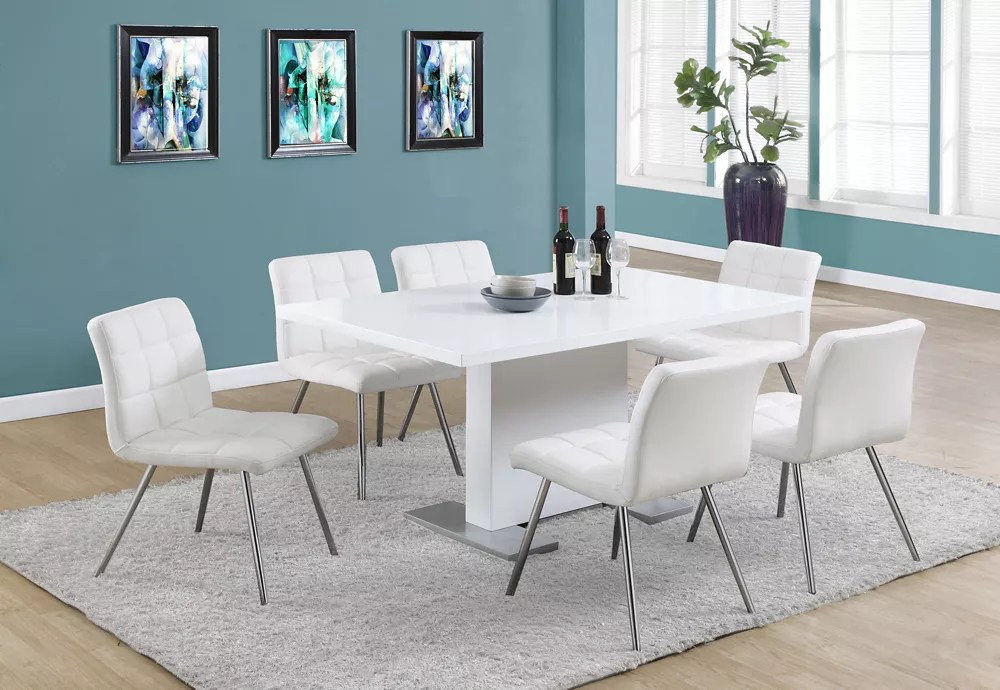 Monarch Specialties Table A Manger 35 X 60 Blanc Lustre Home Depot Canada