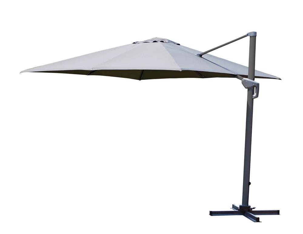 10 ft square offset patio umbrella in grey