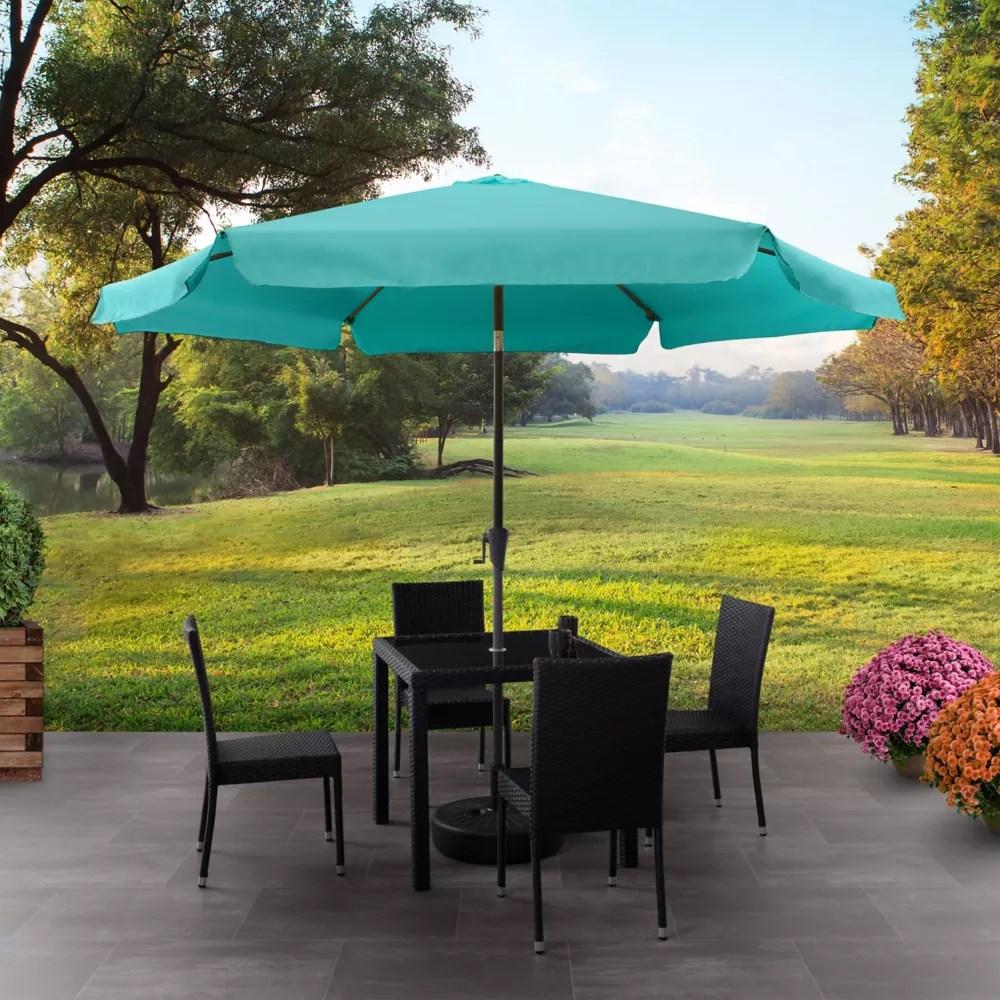 10 ft round tilting turquoise blue patio umbrella