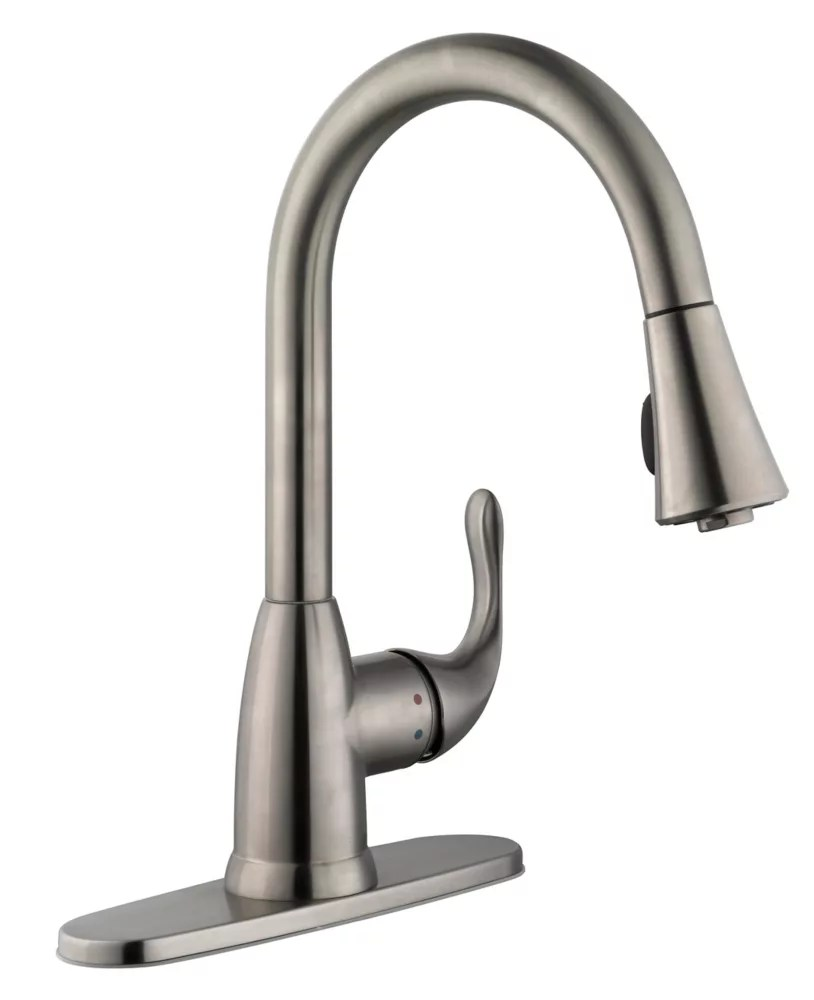market single handle pull down sprayer kitchen faucet in stainless steel
