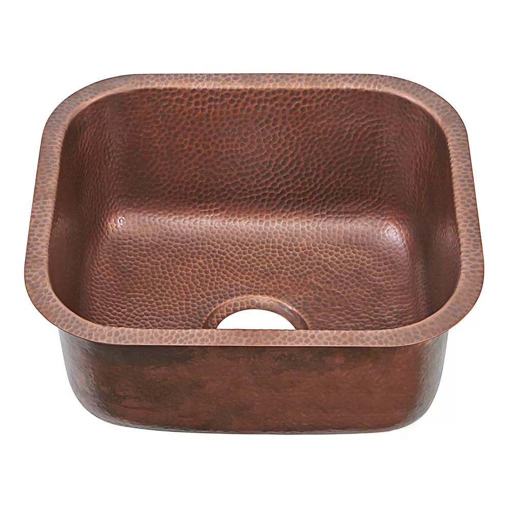 sisley pro undermount handmade copper sink 18 5 in 0 hole bar prep sink in antique copper